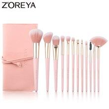 ZOREYA brochas de maquillaje profesionales, 12 Uds., pelo sintético supersuave, mango rosa, brocha para maquillaje, corrector labial, herramientas de belleza