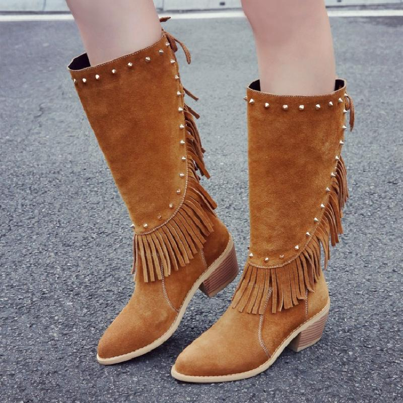 Black Mid-calf High Rivet Tassel Solid Women Boots Zipper Lace Up Design Winter Thick Heel Fashion Martain Boots Casual Botas double buckle cross straps mid calf boots