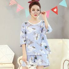 74bda0e05ca7 Women Summer Pajamas Set Swallow Printed Half Sleeved Night Shirt Shorts  Woman Suits Sweet Home Cotton