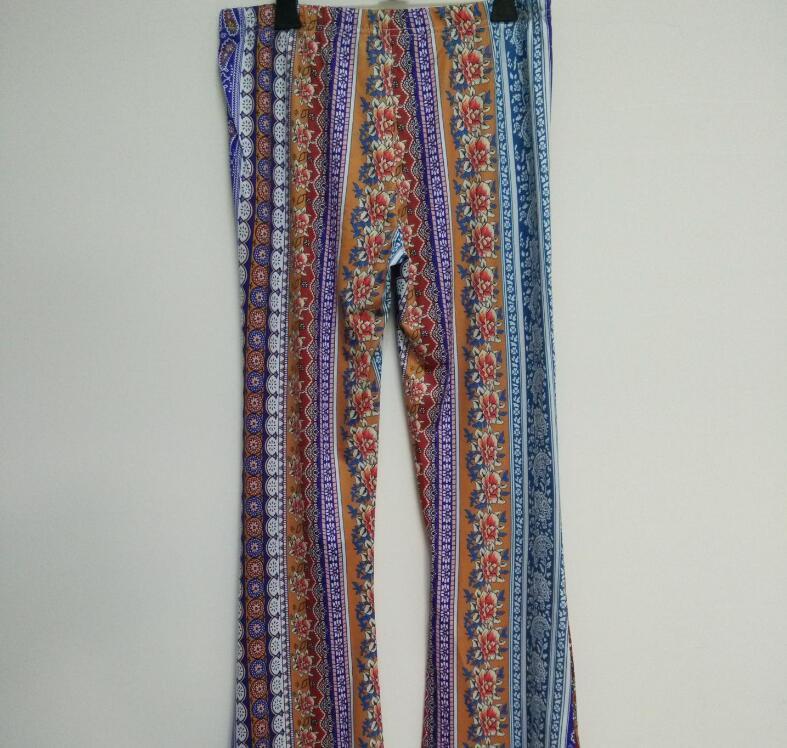 2019 New Hot Sale Boho Vintage Pants Bell Bottom Wide Leg Pants Trousers  Stretch Flare Boho Rose Printed Pants