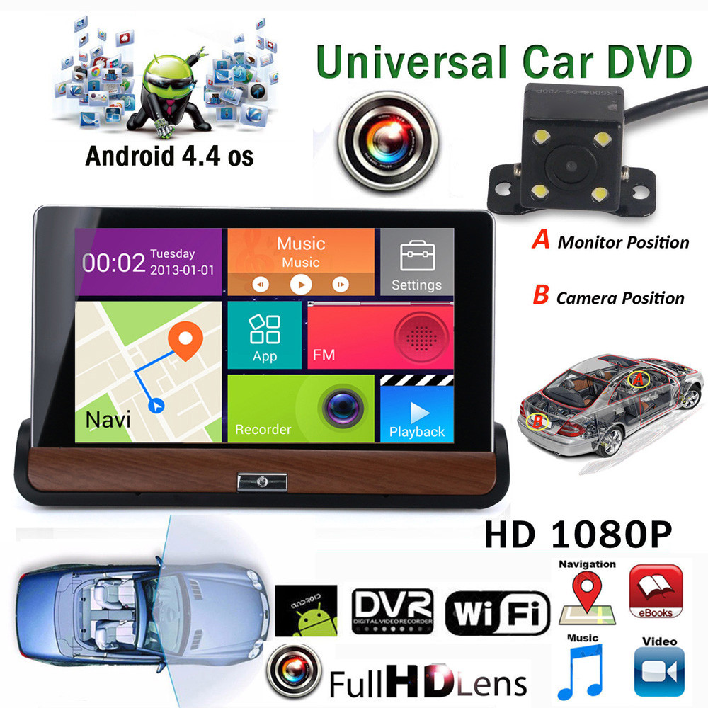1PC 7Inch HD Android 4.4.2 Rearview mirror Car DVR Car Navigs