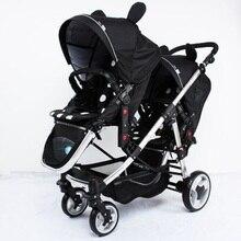 Брендовая детская коляска для близнецов, многофункциональная детская коляска для близнецов, светильник, может сидеть на плоской двойной тележке, двусторонняя складная детская коляска