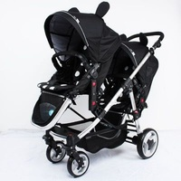Brand twins baby stroller Multifunctional twin baby stroller light can sit flat double trolley two way folding baby car