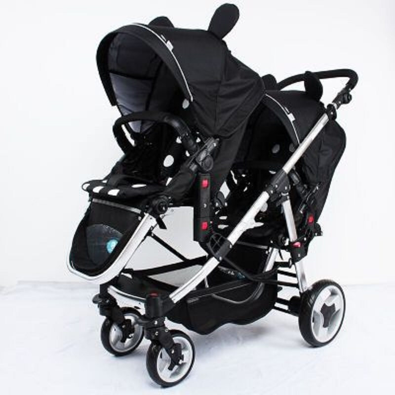 Brand twins baby stroller Multifunctional twin baby stroller light can sit flat double trolley two-way folding baby car image