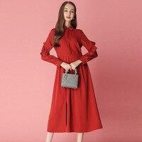 2019 платье новое женское платье весеннее платье квадратный вырез воротник с длинным рукавом элегантное темпераментное длинное винтажное пл