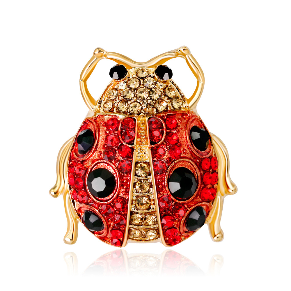 Ladybug Brooch For Women 2019 Fashion Jewelry Rhinestones Crystal Animal Insect Ladybug Brooches Pins Dropshipping
