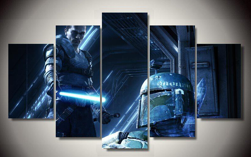5 Panel Framed Printed Star Wars Movie picture painting