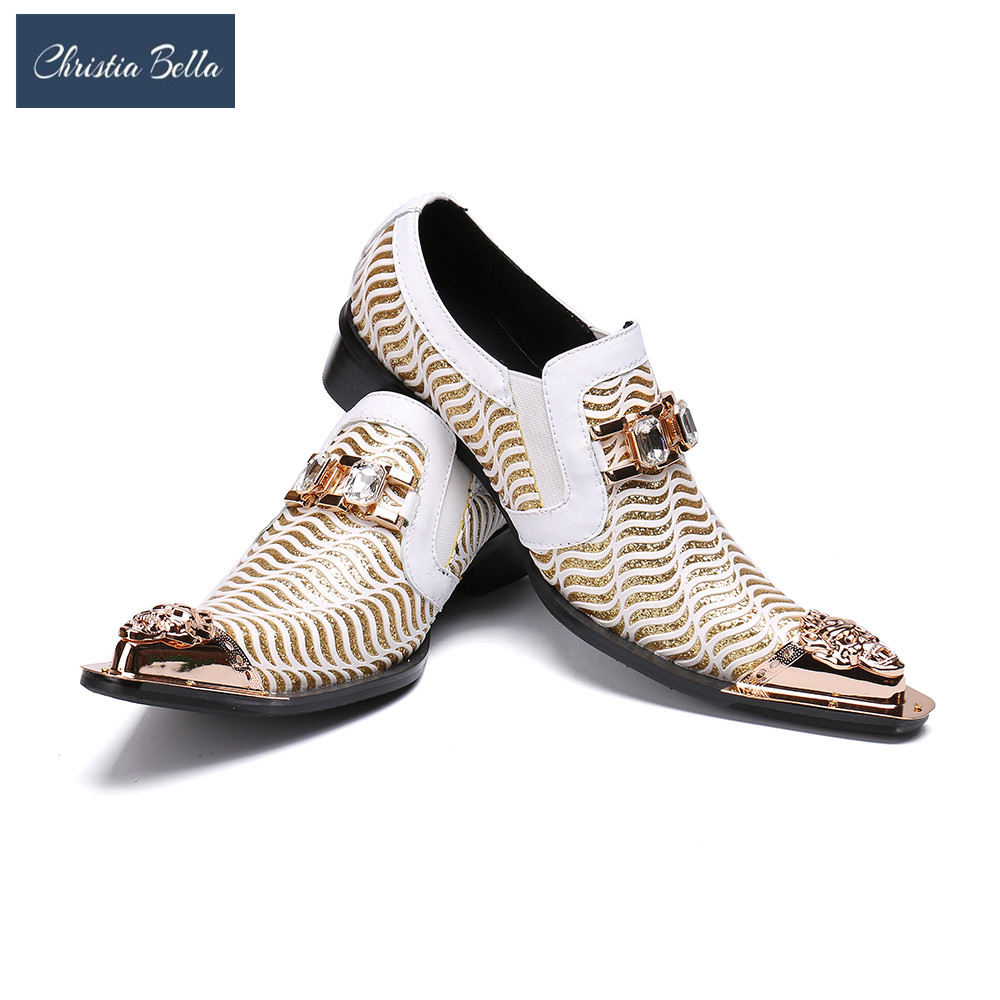 Christia Bella Mode Blanc Chaussures De Mariage Glitters Mens Bout Pointu Bling Bling Casual Robe Chaussures De Luxe Marque Oxford Chaussures