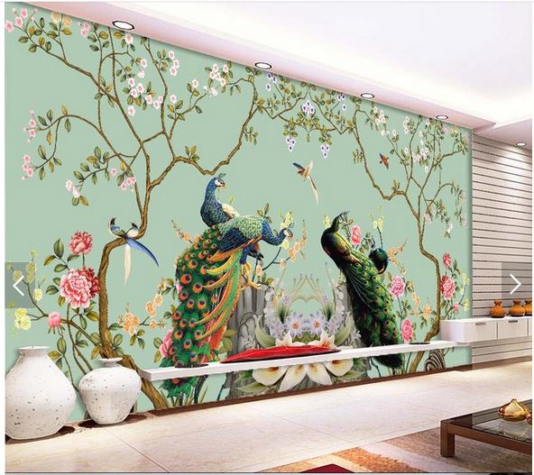 3d wallpaper custom 3d wall murals wallpaper Figure setting wall painting  of flowers and peacock 3d living room photo wallpaper-in Wallpapers from  Home ...