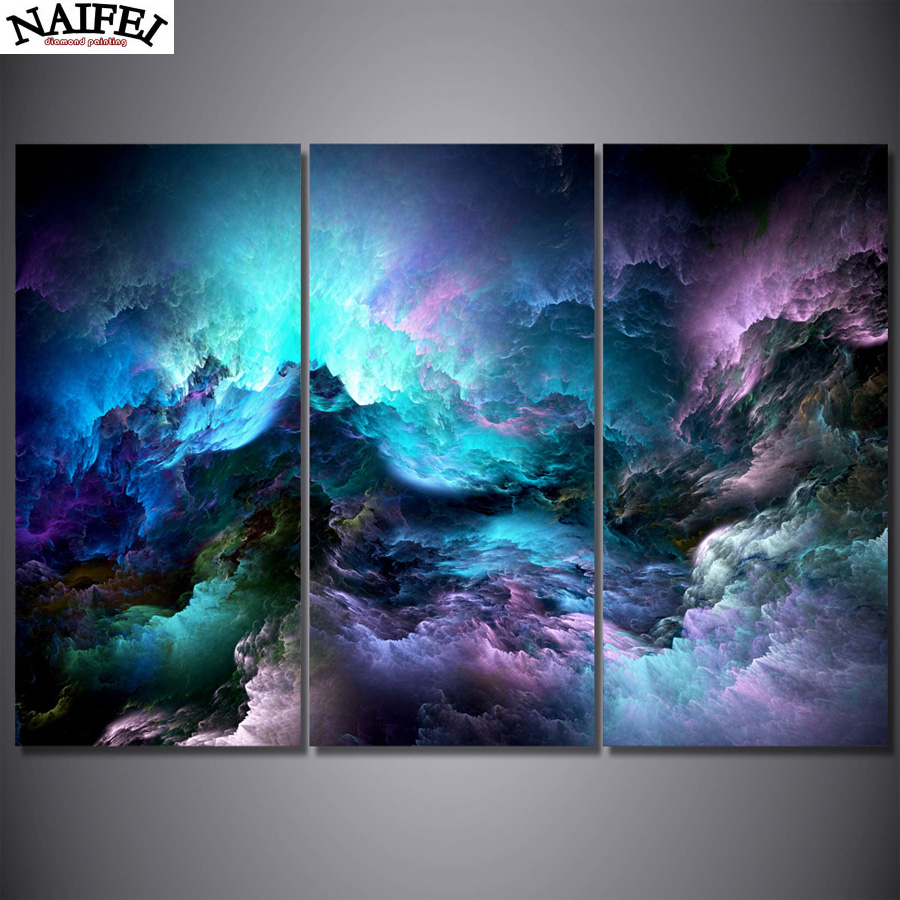 3pcs Diy Diamond Painting Abstract Psychedelic Nebula Space Mosaic Painting Home Decoration Hand