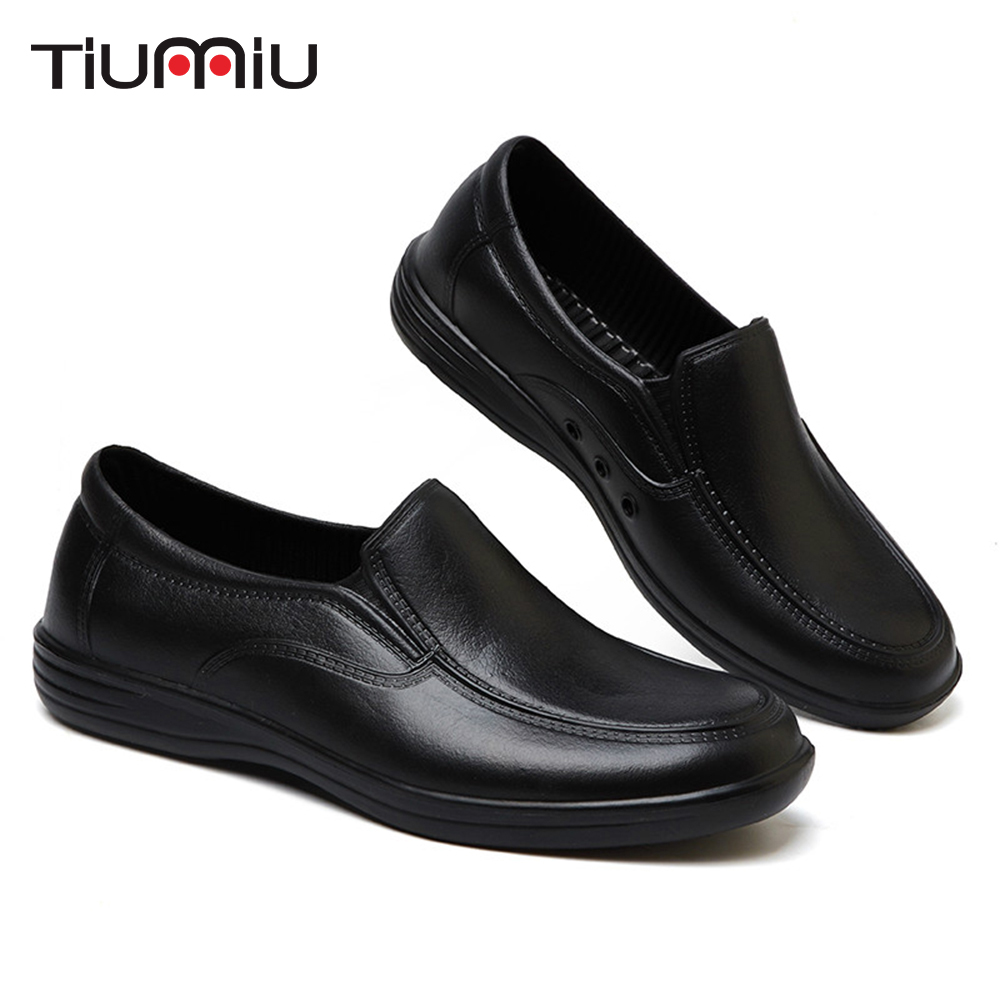 2018 Professional Chef's Anti-slip Shoes Men Cook Shoes Safety Black Waiter Shoes Unisex Kitchen Canteen Waterproof Oilproof