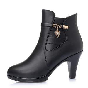 Image 3 - 2020 NEW Fashion Genuine Leather Women Ankle Boots High Heels Zipper Shoes Warm Fur Winter Boots for Women