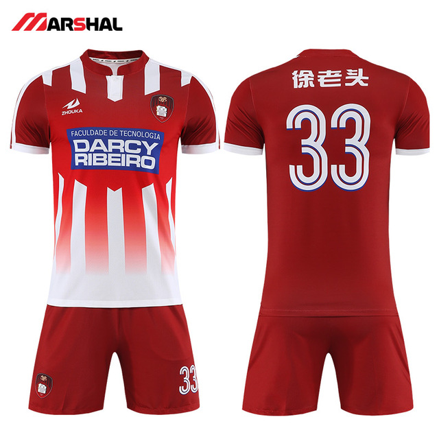 71dede9f024 2019 New design football outfits plain authentic jerseys custom soccer kits  uniforms maker on line with your own logo OEM