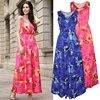 2017 Women Flare Long Dress Women S Sleeveless Print Sundress Female Summer Beach Tunic Ladies V