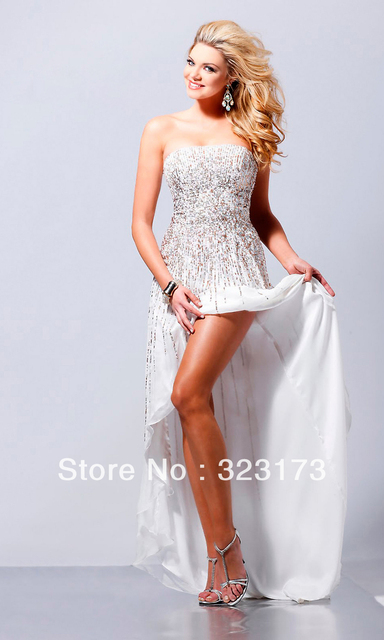 White Lavender Royal Blue Bling Sequin Prom Dress High Low Hem-in ... 1c54f2374ac9