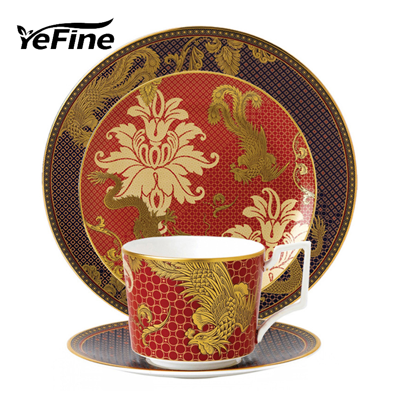 YeFine Ceramic Traditional Chinese Dinnerware Plate Set