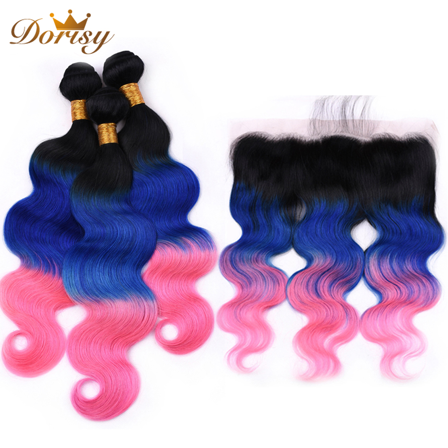 Ombre Bundles With Closure Pre Colored T1b Blue Pink Brazilian Body Wave Human Hair Bundles With Frontal Dorisy Remy Hair