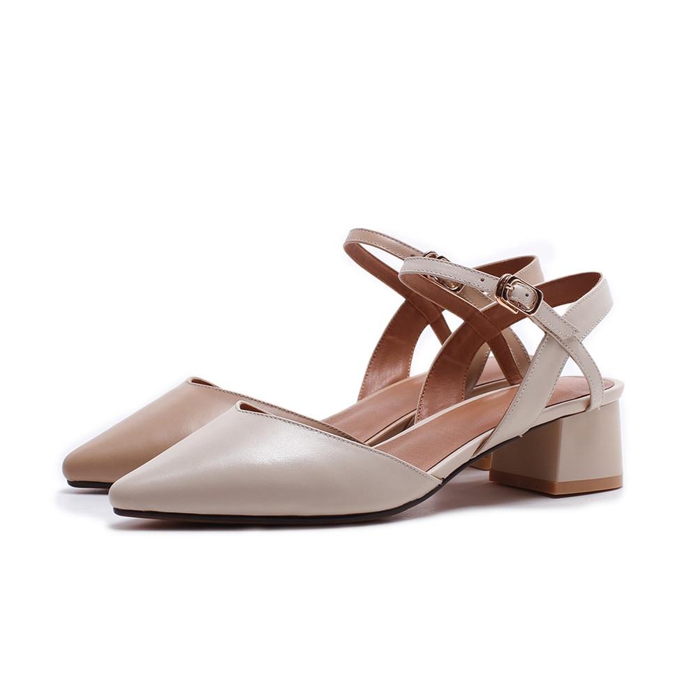 Asum donna vera tacchi med colore donna moda a scarpe tacco quadrato 2018 beige in pompe nudo punta primavera estate fibbia punta pelle rSXrFw