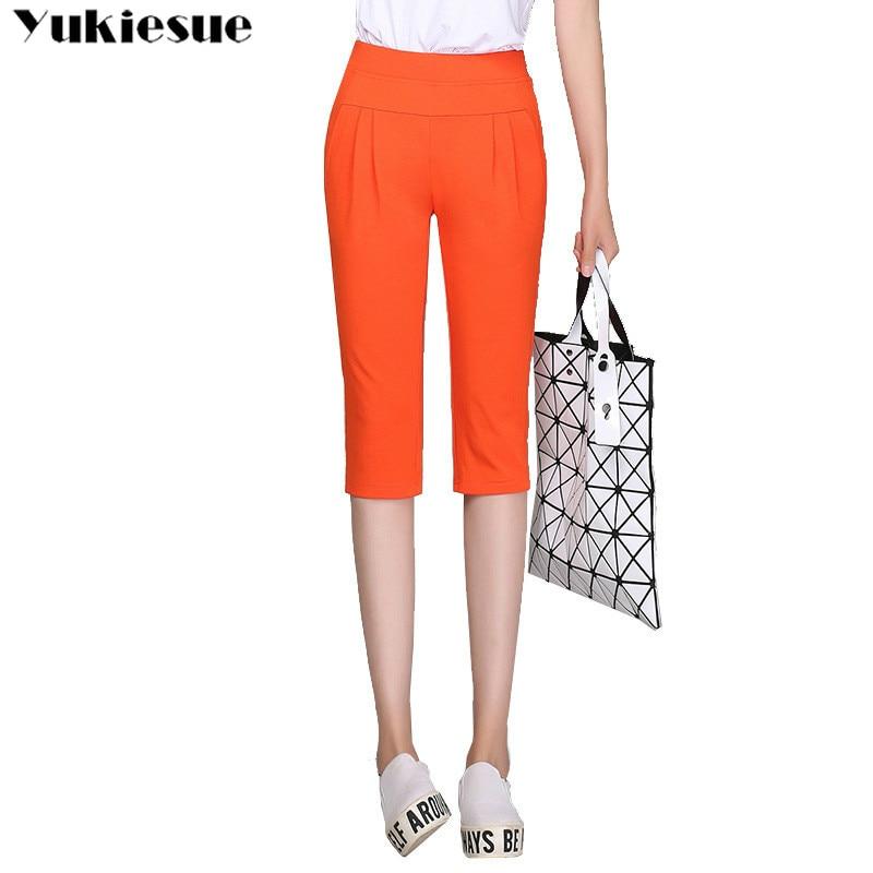women's   pants     capris   harem   pants   for women loose summer 2019 high waist elastic knee length trousers female Plus size 5XL