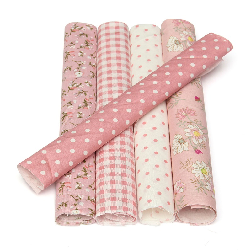 Us 1 99 Kiwarm Fashion 5pcs 25x25cm Pink Flower Dots Quilting Cotton Fabric For Sewing Clothes Patchwork Doll Needlework Diy Material In Fabric From