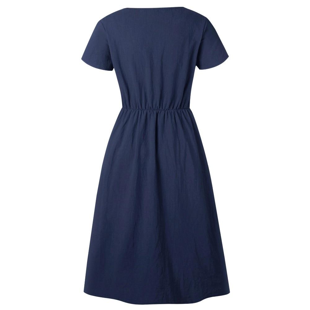 Red Blue A Line Casual Dresses Women Autumn Dress 19 Vintage Long Sleeve Dress For Ladies Buttons V Neck Midi Vestidos Female 54
