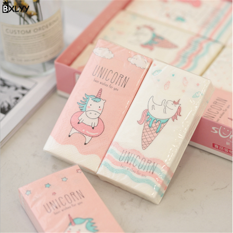 BXLYY Hot 3pack Best Selling Creative Unicorn Pattern Paper Towel Portable Handkerchief Paper Disposable Party Decor Baby Show.7