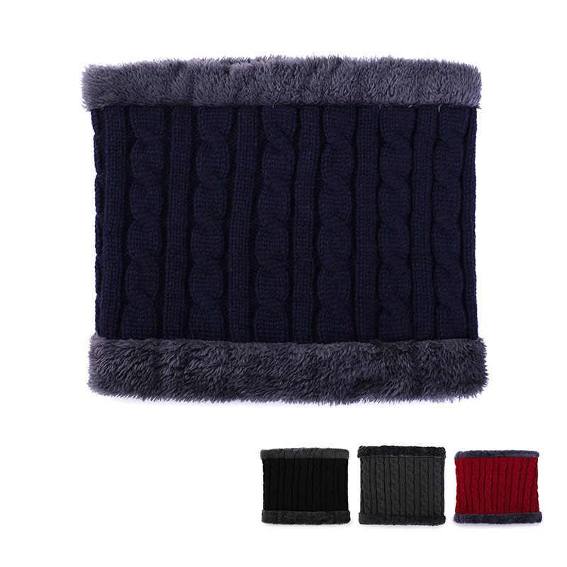2019 ファッションブランド無地ニットビーニー帽子スカーフプラスベルベットの冬の帽子男性女性暖かい厚みヘッジキャップスキーソフトスカーフ