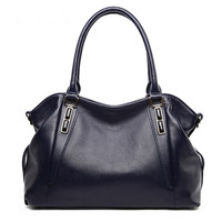 Real leather ladies carry shopping bags with large capacity, European and American style single shoulder bevel women bags