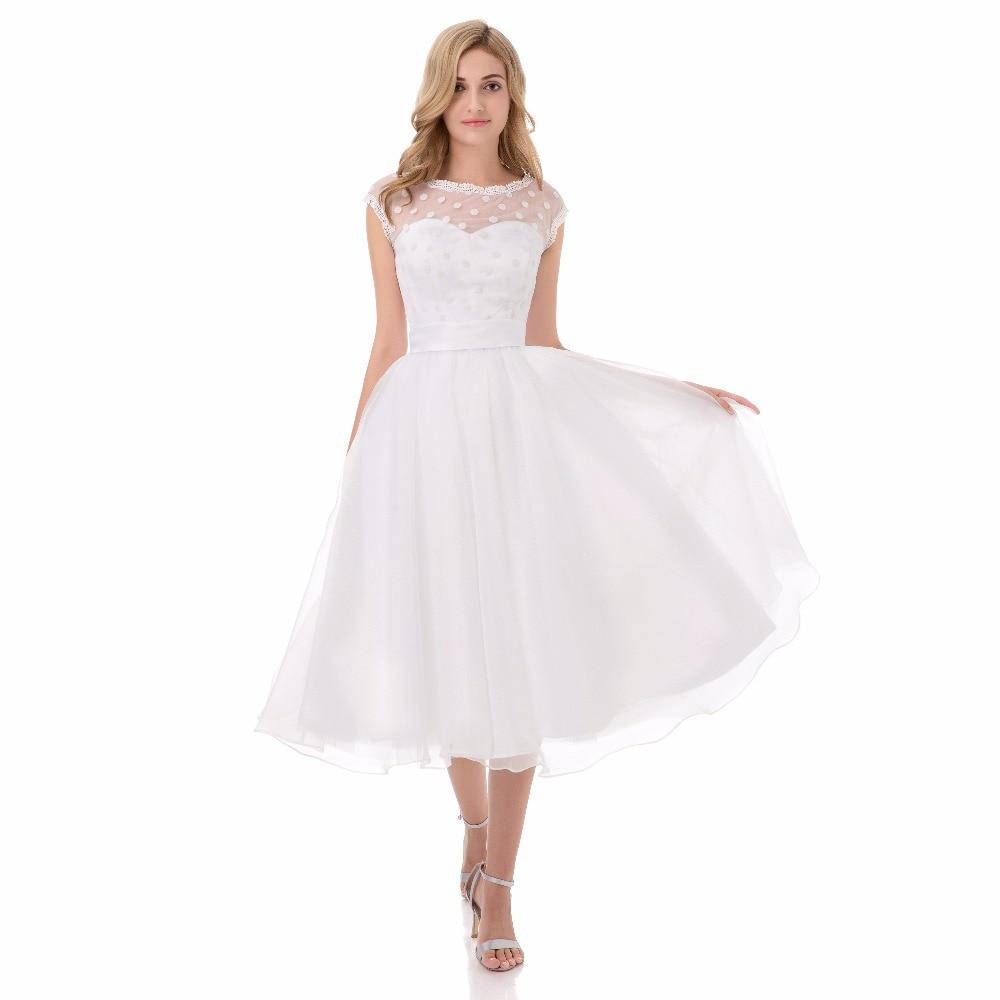 Vintage 1950 s Kurze Brautkleider Scoop Ausschnitt Hochzeit Kleid ...
