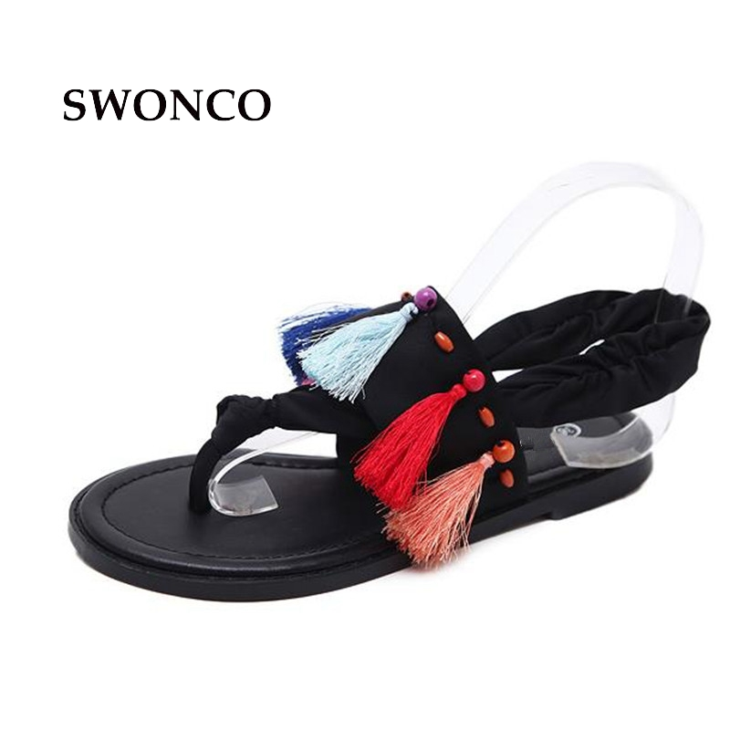1621ccbdbc11c SWONCO Women s Sandals Bohemia Style Fashion Tassel Summer Beach Shoes Flat  Sandals Women 2018 Flip Flop Female Shoes-in Women s Sandals from Shoes on  ...