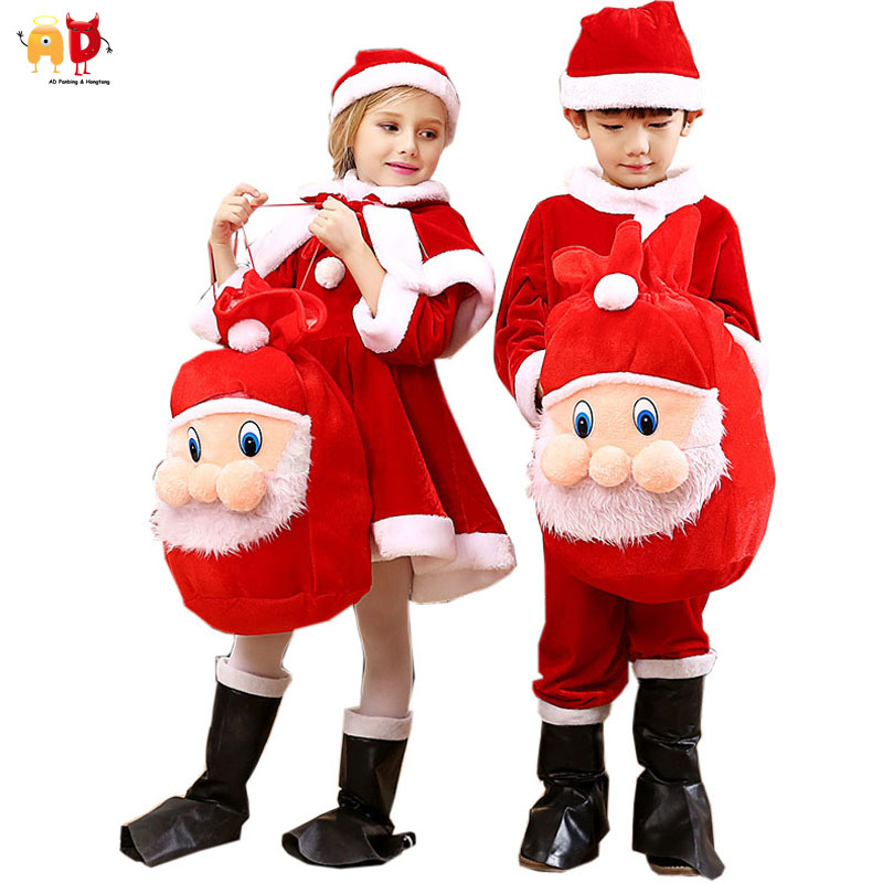 AD Boys Girls Christmas Costume Clothing Kids Xmas Santa Claus Sets Children's Clothing Dress inflatable cartoon customized advertising giant christmas inflatable santa claus for christmas outdoor decoration