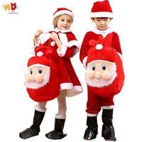 AD Boys Girls Christmas Costume Clothing Kids Xmas Santa Claus Sets Children's Clothing Dress