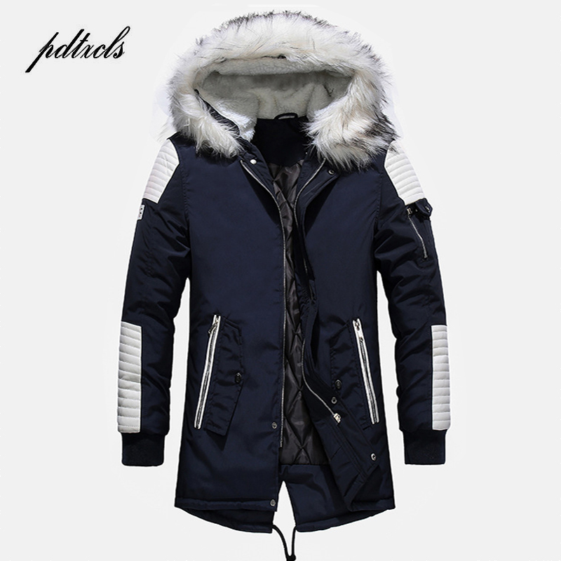 Hot Fashionable High Quality Men's Thick Winter Mid-Length Coats High Street Warm Casual Slim Jackets Color Spliced Male Parkas