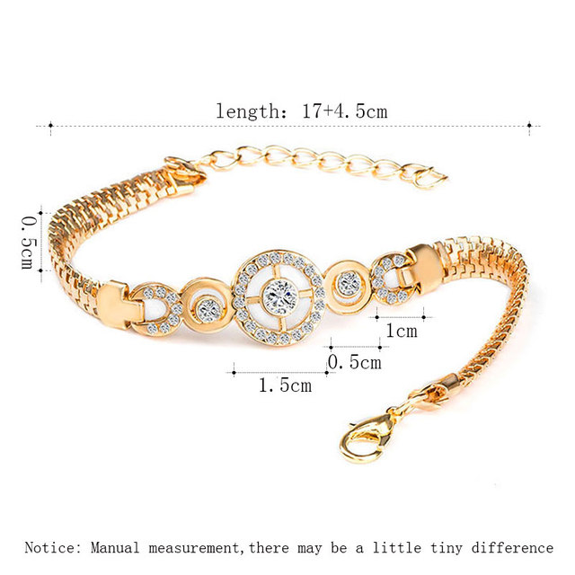 QCOOLJLY Luxury Round Crystal CZ Hand Chain Bracelets for Women Gold Color Twisted Bangle & Bracelets For Women Wedding Jewelry 1