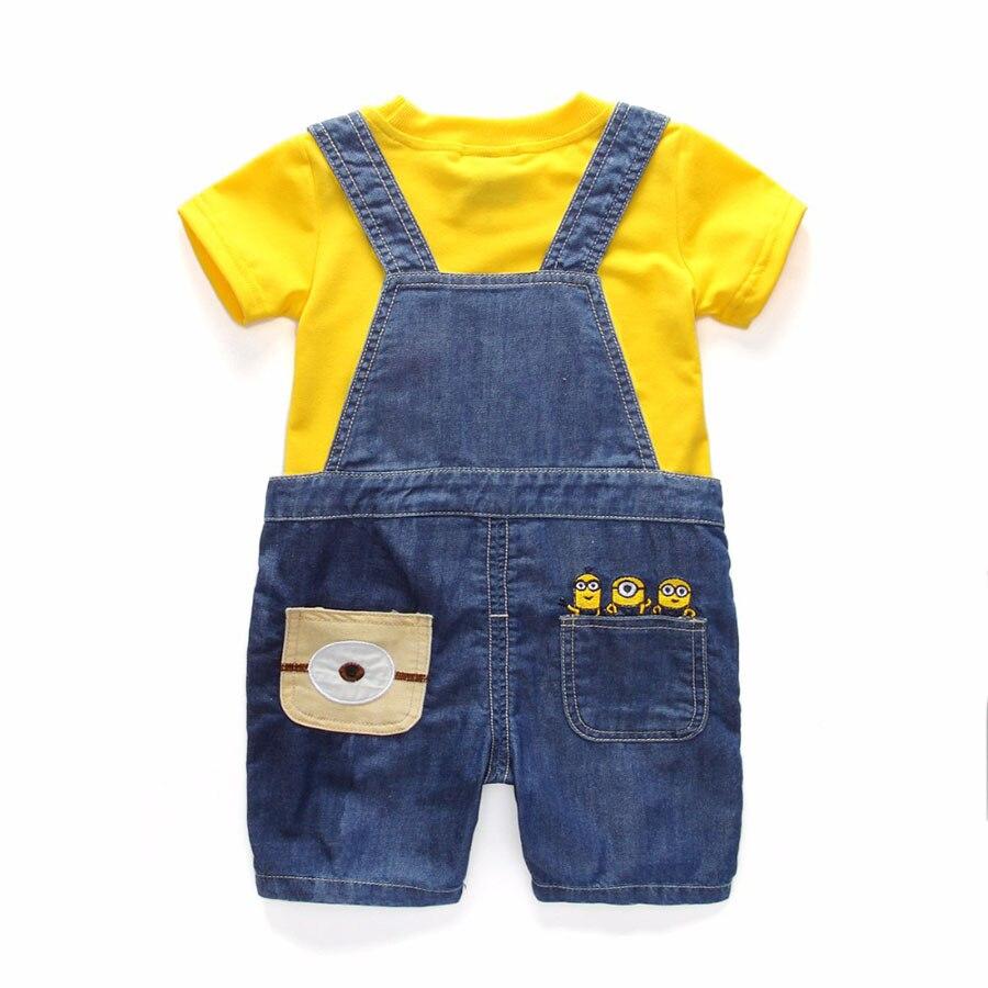 Для маленьких мальчиков Джинсовые комбинезоны Детский комплект хлопок желтый одноцветное футболка с короткими рукавами джинсы комбинезон...