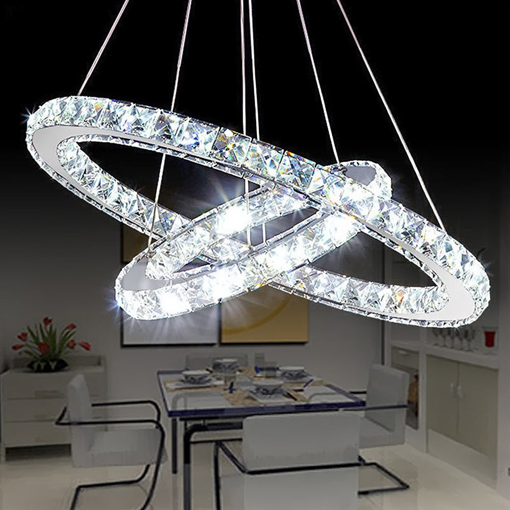 Modern crystal pendant light circle suspension dining room for Lustre suspension triple