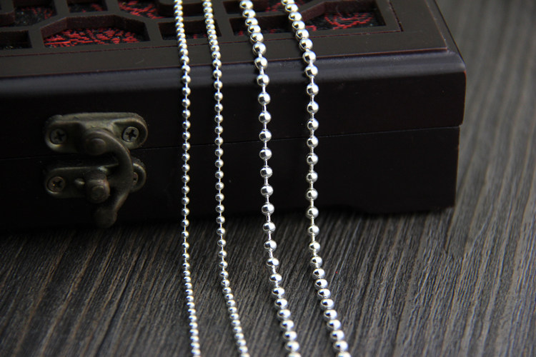 C R Real 925 Sterling Silver Necklace Round beads chain sweater chain necklace for men women long necklace Fine Jewelry in Necklaces from Jewelry Accessories