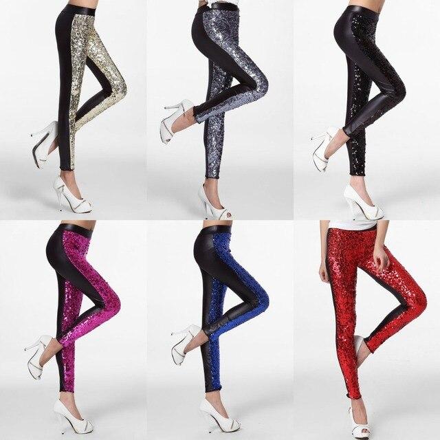 2015 Mujeres de La Manera Pantalones de Fitness Negro Azul Rojo de Plata de Bling Bling Stretch Leggings punk adventure time LC79369 calca discoteca