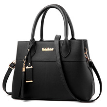 Women's PU Handbag Top Handle Large Capacity Female Tassel Handbag Fashion Shoulder Bag Ladies Leather Messenger Bag недорого