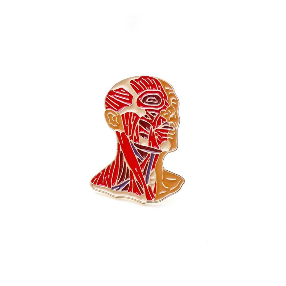 2019 ראש דיוקן צורת דש פין אדום אמייל פין מתנה עבור רופא/אחות רפואי סיכות תכשיטים סיכות ביולוגיה תלמיד