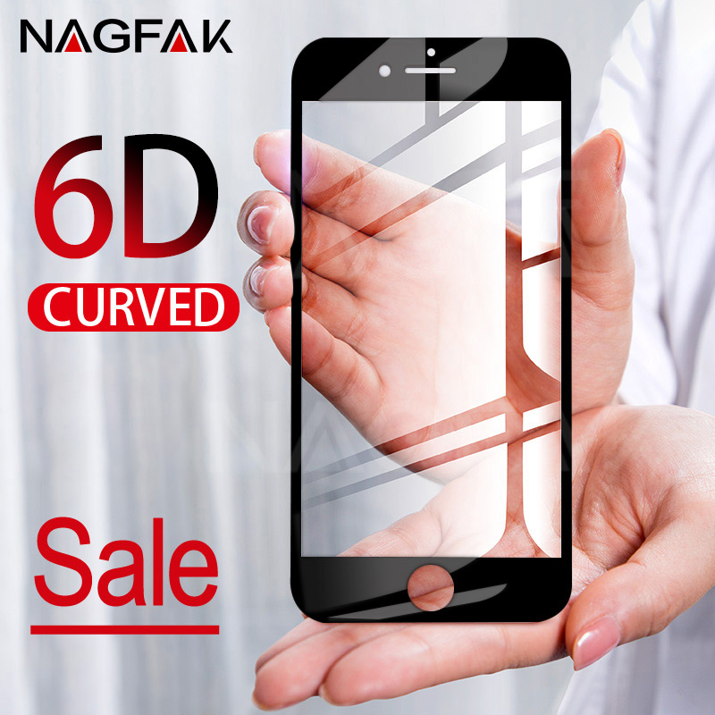 6D Curved Edge Full Cover Screen Protector For iPhone 7 6S 8 X Tempered Glass On The For ...