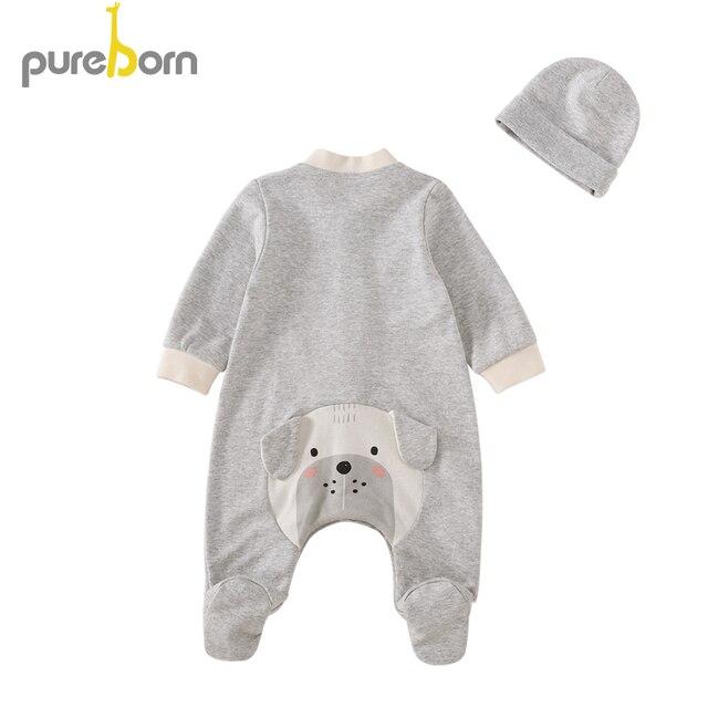 Pureborn Newborn Footies+Hat 2 pieces Baby Girls Boys Animal Cartoon Cotton Babies Onesies Long Sleeve Outfits Pajamas