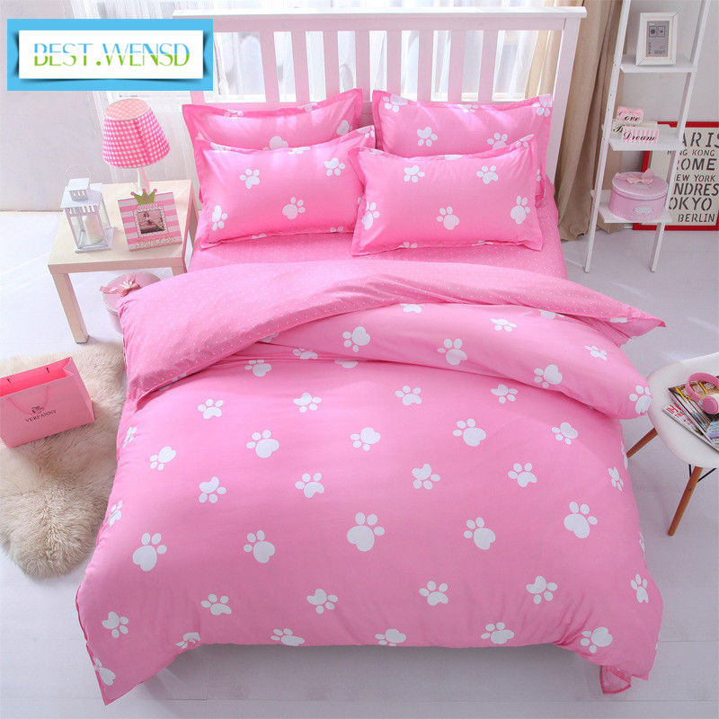 BEST.WENSD wholesale Cartoons animals kids beding full/ queen size bedding Modern Footprint cat bedclothes luxury cover bed sets
