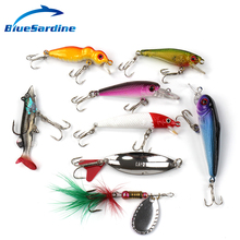 BlueSardine 8PCS Fishing Lures Set Hard Bait Minnow Spoon Spinner Fishing Tackle Isca Artificial