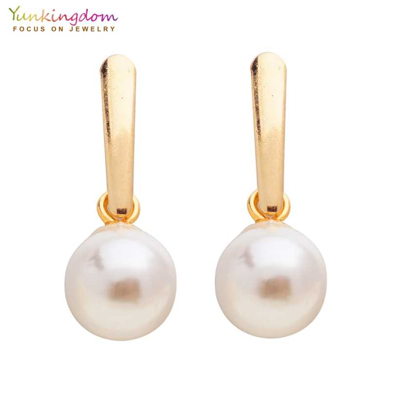Yunkingdom new stud earrings gold-color stainless steel simulated-pearl earrings for women bridal jewelry UE0324