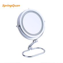 SpringQuan 7 inch  desktop makeup mirror 2-Face metal mirror 10X magnifying   battery LED lamp Cosmetic mirror