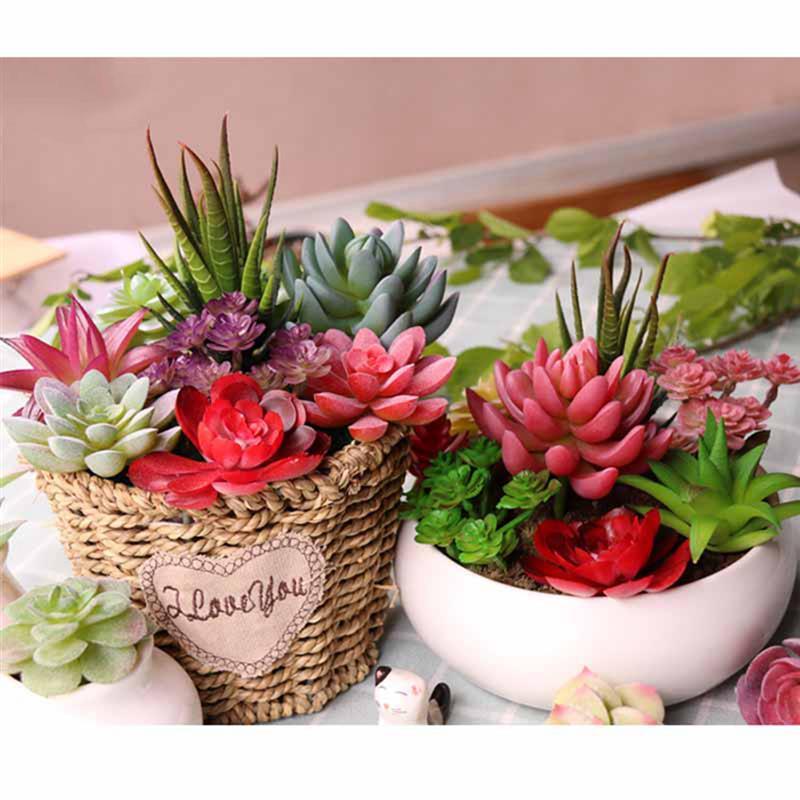 1 xArtificial suculenta Plantas Imitación Cactus Aloe Para Decoración De Hogar Decoración De Jardín