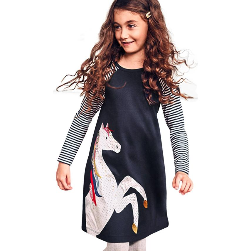kids dresses for girls girl princess dress Toddler Baby Girl Kid Spring Clothes Horse Stripe Print Princess Party Dress m19