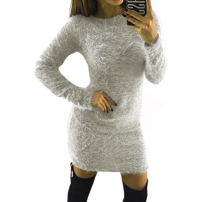 Autumn Sweater Dress Women Party Night Bodycon Dresses 2019 Fashion Winter Plush Knitted Sweater Casual Sexy Red Gray Clothing