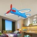 LICAN Мультфильм светодиодный подвесные светильники для спальни мальчиков подвесной светильник детский Кулон лампы самолет висячие светиль...